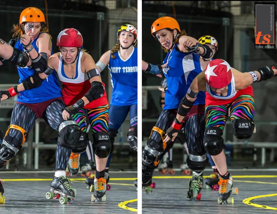 Me powering past Allie B Back - a thing I could not do when I came to Charm City. Photos by Tyler Shaw - Prints Charming