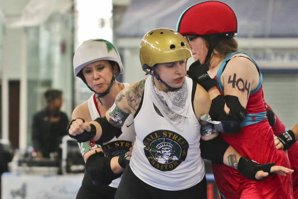 When Mystery Violence Theatre came to HARD she couldn't stand on her skates. Through coaching confidence & her own hard work, she now skates for Gotham's Wall Street Traitors & Bronx Gridlock. Photo by David Dyte