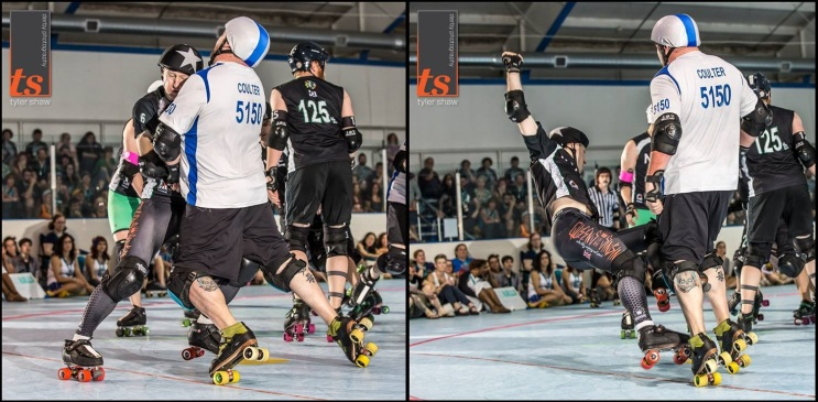Maelstrom isn't all little guys. Bill Coulter is pretty infamous for making a statement on the track. Photo from ECDX 2014. By Tyler Shaw - Prints Charming Derby Photography