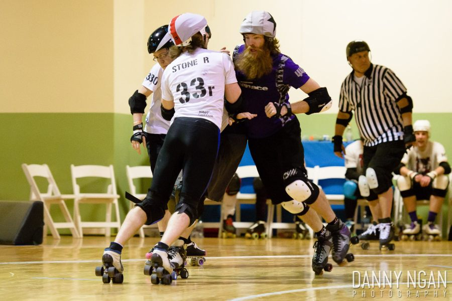 Definition of stop blocks and direction of game play and all rules are determined by the member leagues. Rolling Stone R may appear to be breaking a rule while blocking Captain Obvious, but not according to rule definition. Photo by Danny Ngan Photography 2014
