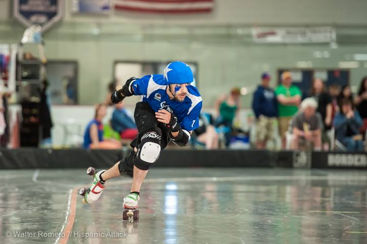 Terry Hasselmann usually blocks, but every now and again he gets to wear the star when the team needs him. Photo from Mohawk Valley Cup. Photo by Hispanic Attack