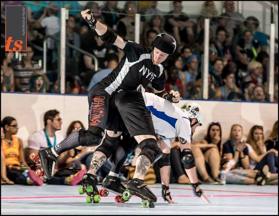Jonathan R does not let physics restrain him at ECDX. Photo by Tyler Shaw - Prints Charming Derby Photography