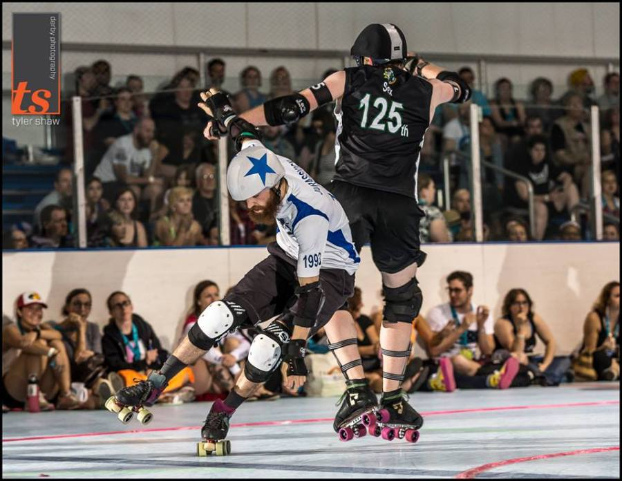 The acrobatics of Jurasskick Park as captured at ECDX by Tyler Shaw - Prints Charming.