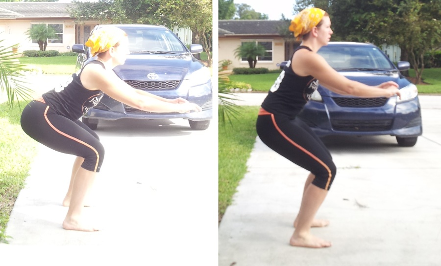 Old derby position (l) - Butt out, weight middle of the feet/heels New derby position (r) -  back straight, tailbone tucked, feet hip to shoulder width apart You won't be as low in new derby position, but you have more mobility from this position, and a stronger stance for blocking and walls