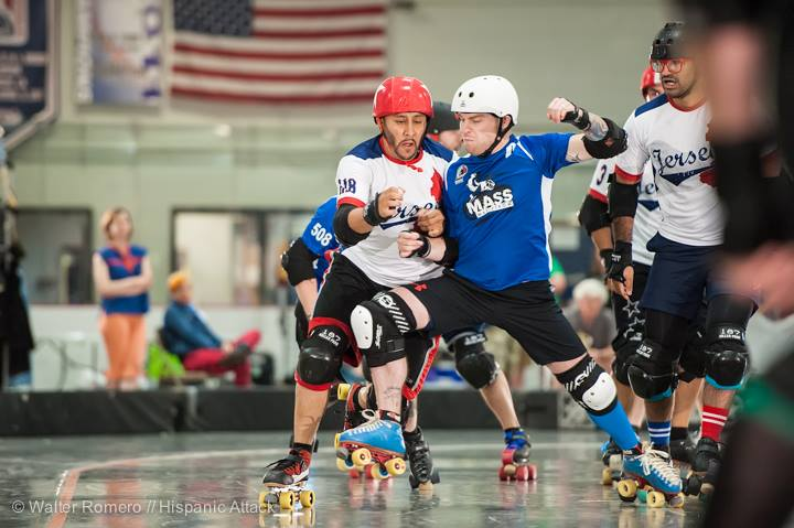 Wes Turn (Conlin) uses his edge to block during the Mohawk Valley Cup. Photo by Hispanic Attack.