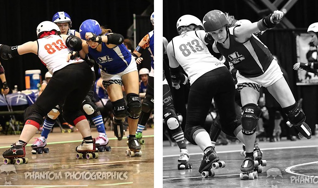 Giles and Bittercup roller derby